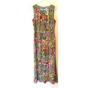 Talbots NWT blue & floral sleeve-less long dress